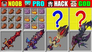Minecraft NOOB vs PRO vs HACKER vs GOD DEVIL SUPER SWORD CRAFTING CHALLENGE in Minecraft Animation