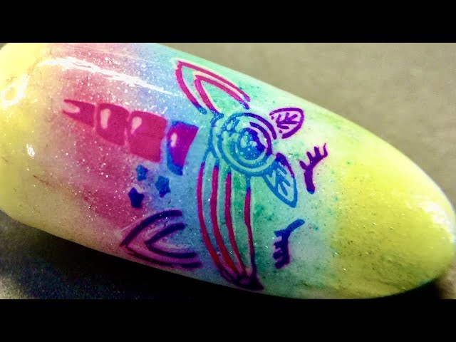 Live_ Rainbow Unicorn nail art with sticky stamping polish and dry coloring sheer pigment _SheModern