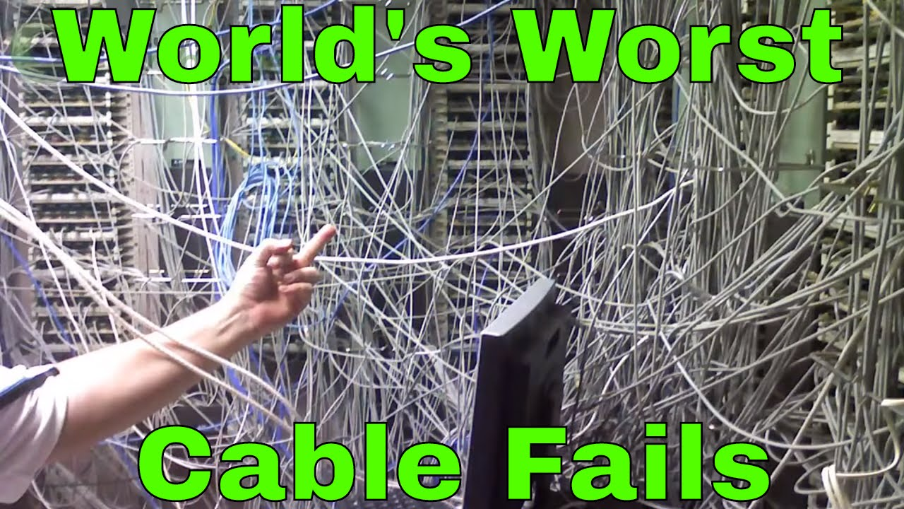 hight resolution of scary network wiring and cabling fails in the it closet