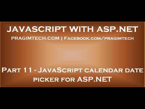 JavaScript Calendar Date Picker For ASP NET