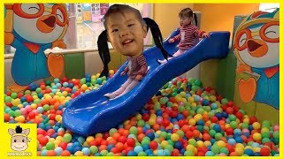 Indoor Playground Fun how to play for kids toys Finger Family Song Slide Jump | MariAndKids Toys