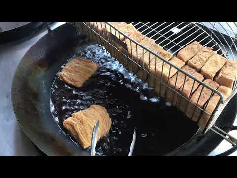驚人美食「泡菜豆包」臭豆腐 水餃製成下次見 南投美食  Amazing Fried Tofu Skins with kimchi  台灣街頭美食Taiwanese Street Food