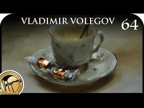 How I Paint Porcelain Coffee Cup And Shiny Candy Wrapper. Art By Vladimir Volegov