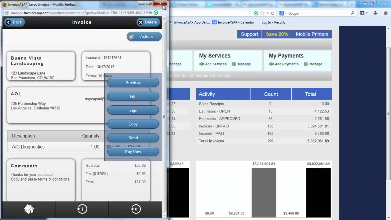InvoiceASAP Manage Account Website Create Invoice Or Estimate YouTube - Invoice asap