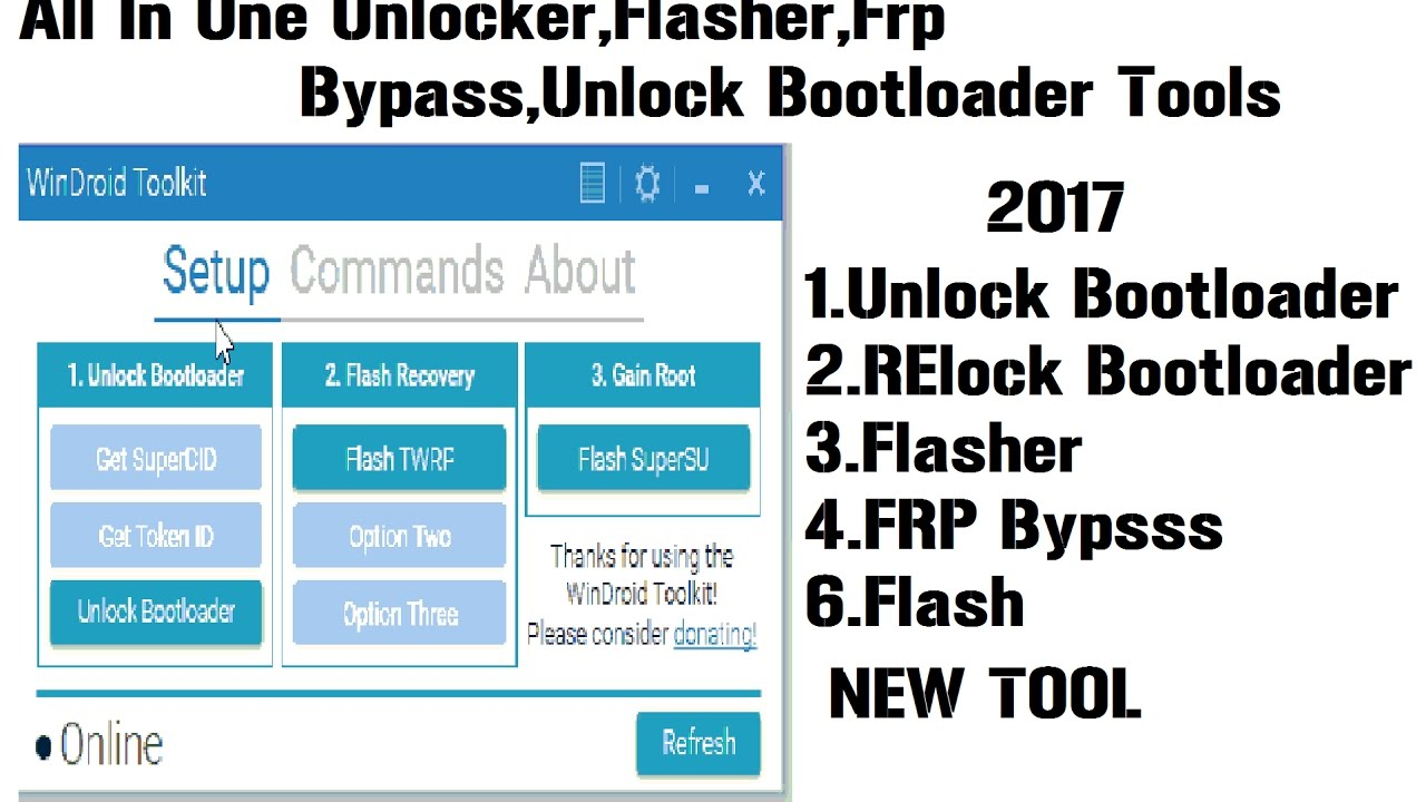 A new All In One Tool For Android-Unlocker-Unlock  Bootloader-Root-flasher-FRP-WinDroid Toolkit v3 1