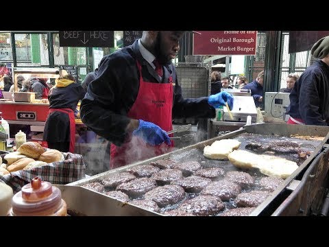 Massive Dose of Beef. Huge Burgers Cooked in Borough Market, London Street Food