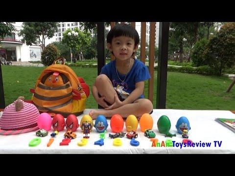 Bóc trứng học con số cùng màu sắc với Tiếng Anh và Tiếng Việt - Surprise eggs ❤ AnAn ToysReview TV ❤