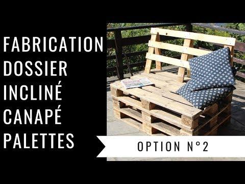 Fabrication d\'un dossier incliné pour un canapé en palette - Option 2