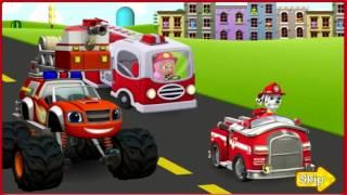 Щенячий патруль и Вспыш Чудо-Машинки Храбрые пожарники Щенки тушат пожар paw patrol  Blaze #cars