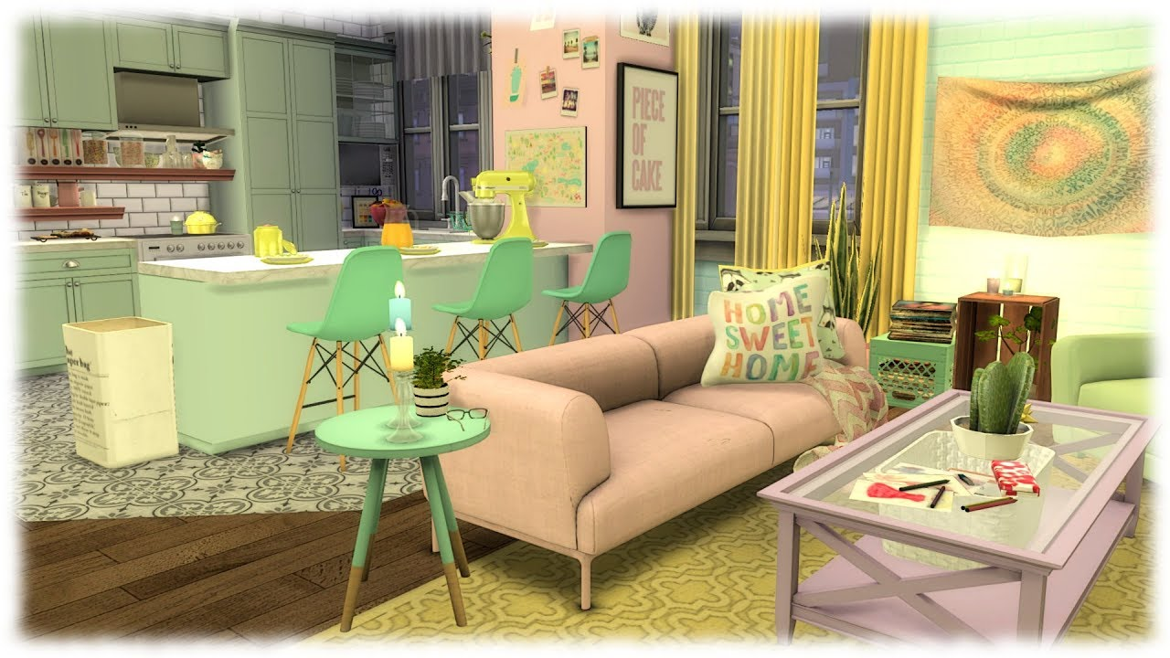The Sims 4 Speed Build Pastel Apartment Cc Links