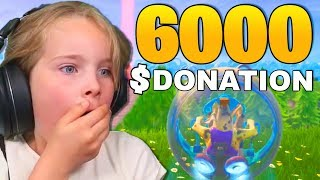 Kid gets SURPRISE DONATIONS when playing her first fortnite game... (Funny Reactions)