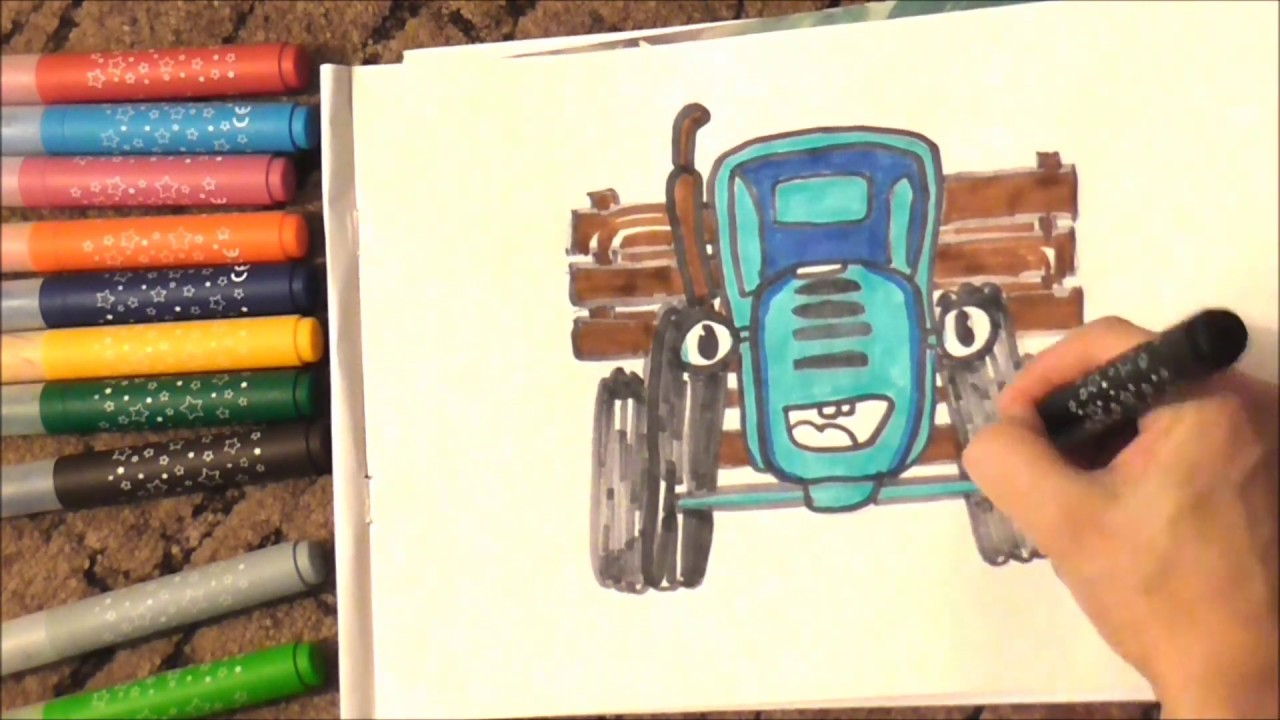 Draw Blue Tractor Color for kids