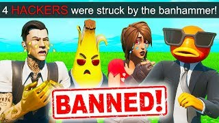 *4 HACKERS* GET BANNED AT ONCE!! - Fortnite Funny Fails and WTF Moments! #878