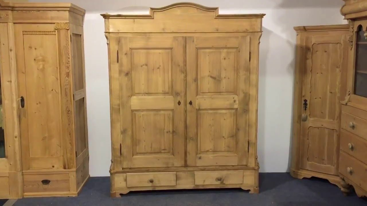 Large Antique Pine Wardrobe For Sale (dismantles)   Pinefinders Old Pine  Furniture Warehouse Video   YouTube