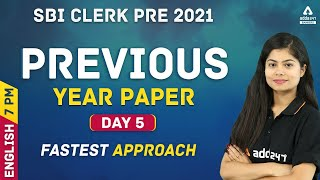 IBPS RRB/SBI PO \u0026 Clerk 2021 | English #5 |  Previous Year Question Papers