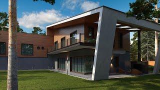 видео Проект каркасного одноэтажного дома 12,6*8,1 с односкатной крышей от