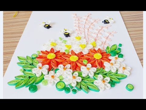 DIY Paper Quilling Flower For beginner Learning video 32 // Paper Quilling Flower Card