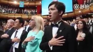 dimash singing kazakhstan national anthem 26 april 2017