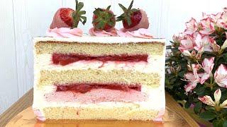 Бисквитный ТОРТ с КЛУБНИКОЙ Торт с ягодной прослойкой