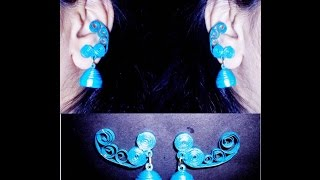 quilling paper earrings jhumkas design  Earrings Making video