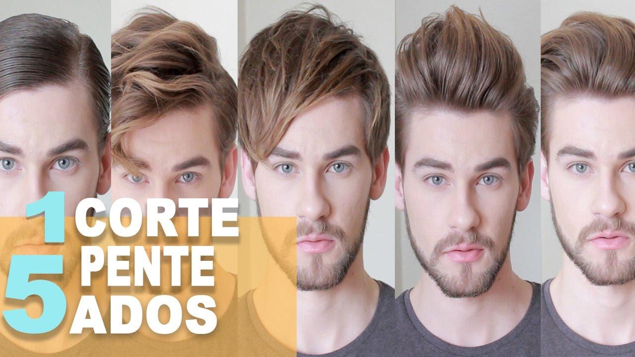 1 Corte 5 Penteados Cabelo Masculino Maquiagem De Homem