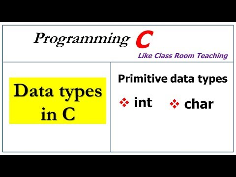 Data Types In C    Int, Char   Primitive Data Types