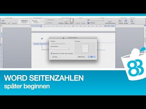 Word Seitenzahlen Später Beginnen Anleitung Für Word 2011 Mac