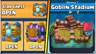 WHAT HAPPENS IF YOU OPEN A TIER 10 CLAN CHEST IN ARENA 1?   CLASH ROYALE!