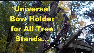 Universal Bow Holder Mounted on Lone Wolf Tree Stand