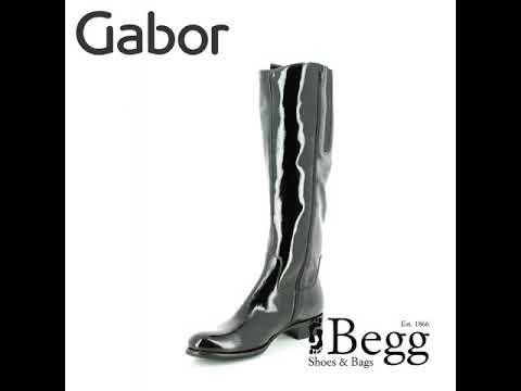 9f81df358ab Gabor Brook Med Leg 91.649.97 Black patent knee-high boots