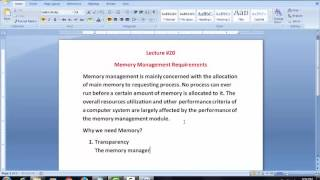 Memory Management Requirement (Lecture #20)