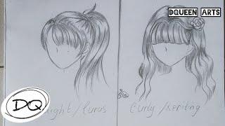Cara Mudah Gambar Rambut Hairstyle Anime Cewek Lurus Keriting How To Draw Anime Hair Youtube