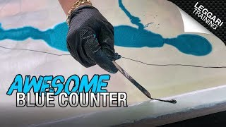 Pearl White & Blue Countertop | Leggari Certified Training