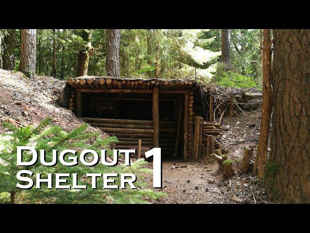 Building a bushcraft DUGOUT SHELTER (Reupload) // JustRandomPfusch