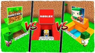 SECRET BASE OF MINECRAFT VS ROBLOX SECRET BASE VS SECRET BASE OF MINI WORLD SECRET - MINECRAFT