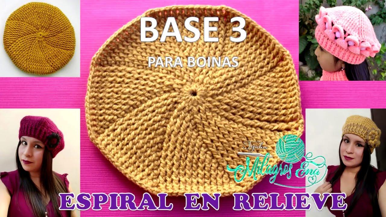 BASE 3: ESPIRAL EN RELIEVES PARA BOINAS TEJIDAS A CROCHET paso a paso