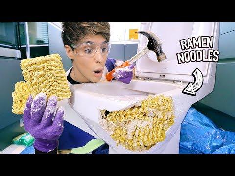 i tested using RAMEN NOODLES to fix a broken toilet