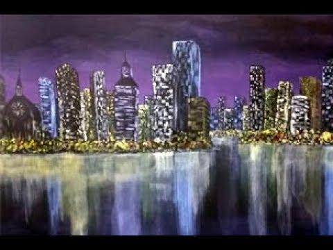 Full Acrylic Cityscape Painting Tutorial A City Night