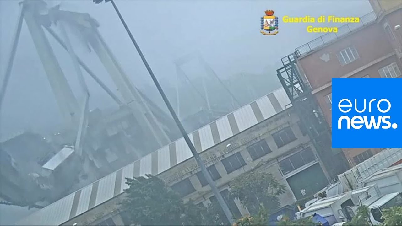 Previously unseen footage shows moment of Genoa bridge collapse