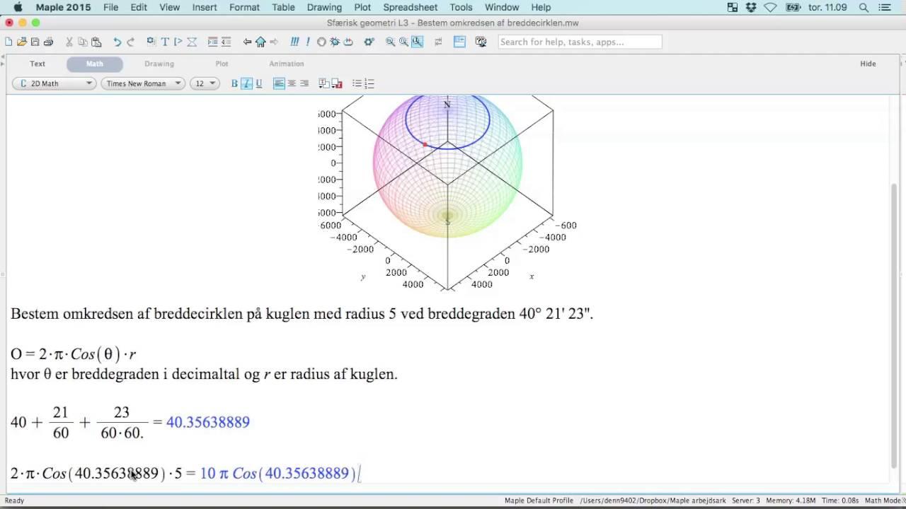 Sfærisk geometri L3 - Bestem omkreds af breddecirkel
