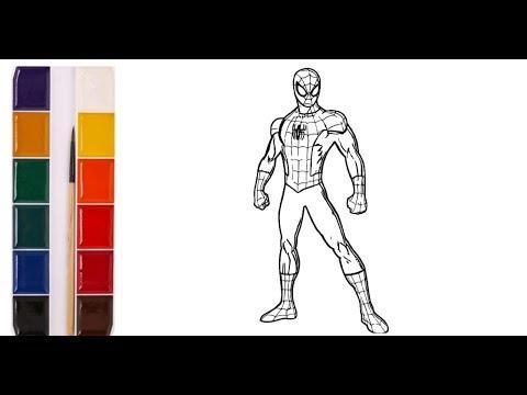 Человек Паук. Герои мультфильмов. Раскраска для детей. Нарисуй сам.