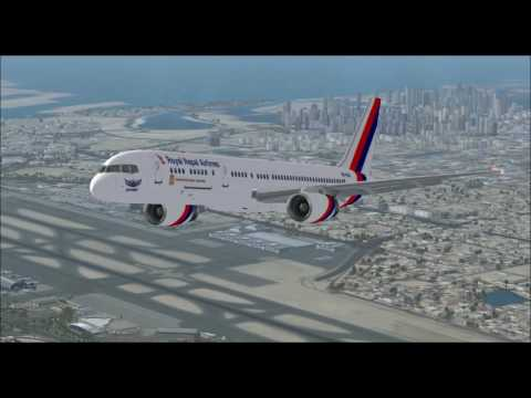 BOEING 757 200 ROYAL NEPAL AIRLINES TAKE OFF FROM DUBAI AIRPORT FS9 HD