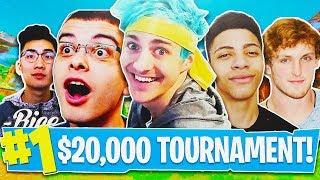 Fortnite $20,000 Youtuber Tournament! (Ninja, Myth, FaZe, Nick Eh 30 & More)  Fortnite Live Gameplay
