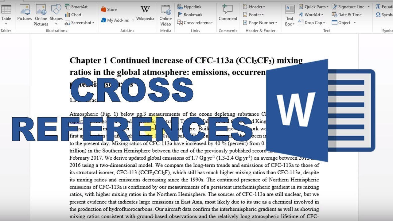 microsoft word update cross references