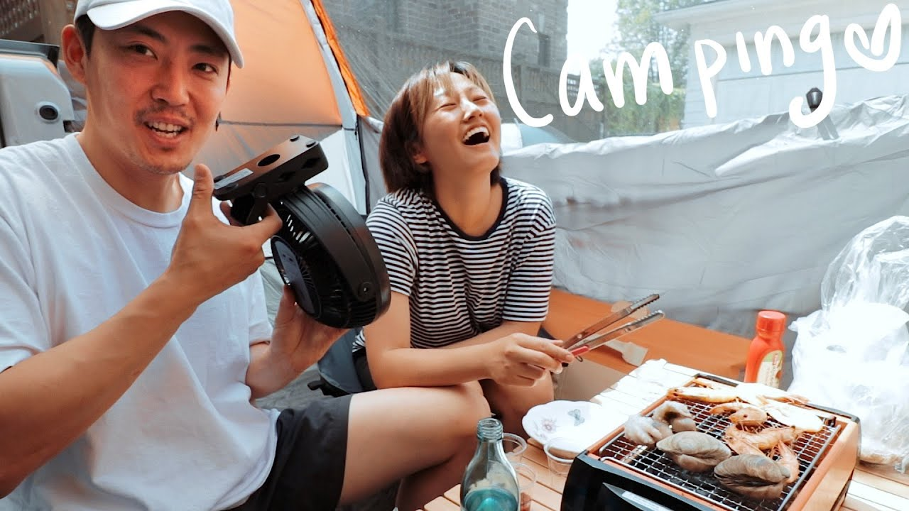 Camping #1 ft. Grilling Shrimps + Clams + Mini Octopus + Seafood Ramen!