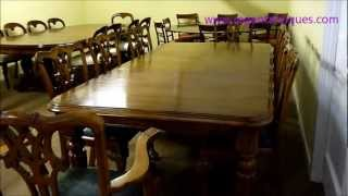 Ra 3240 8ft Antique Victorian Dining Table C1860 & 8 Chairs.wmv