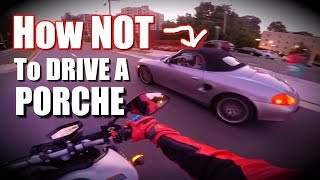homepage tile video photo for PORSHE DRIVER RAGES AT BIKER AFTER CUTTING THEM OFF...