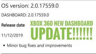 New XBOX 360 Dashboard Update!! 11-12-2019