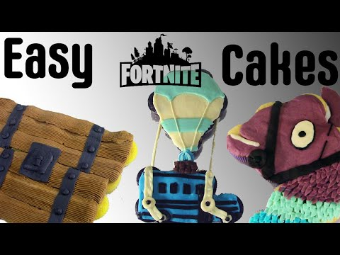 Making Fortnite Birthday Cake Collection - Making Fortnite Cakes Llama, Party Bus, And Chest
