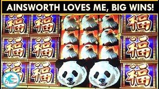 WINNING ON AN ENTIRE ROW OF AINSWORTHS! Panda King, Eagle Bucks, and Thunder Cash Slot Machine
